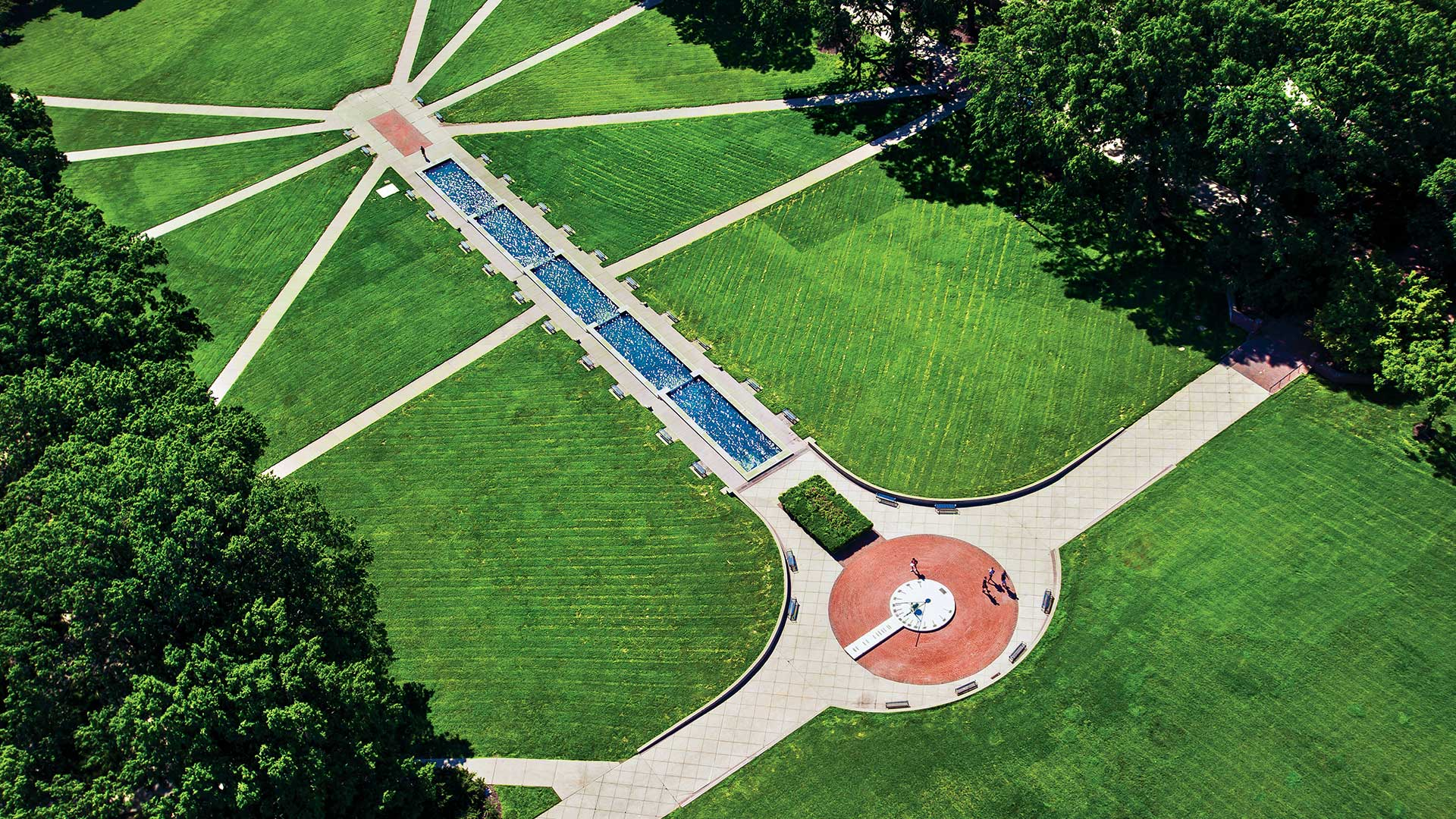 Campus Aerial of McKeldin Mall and Fountain