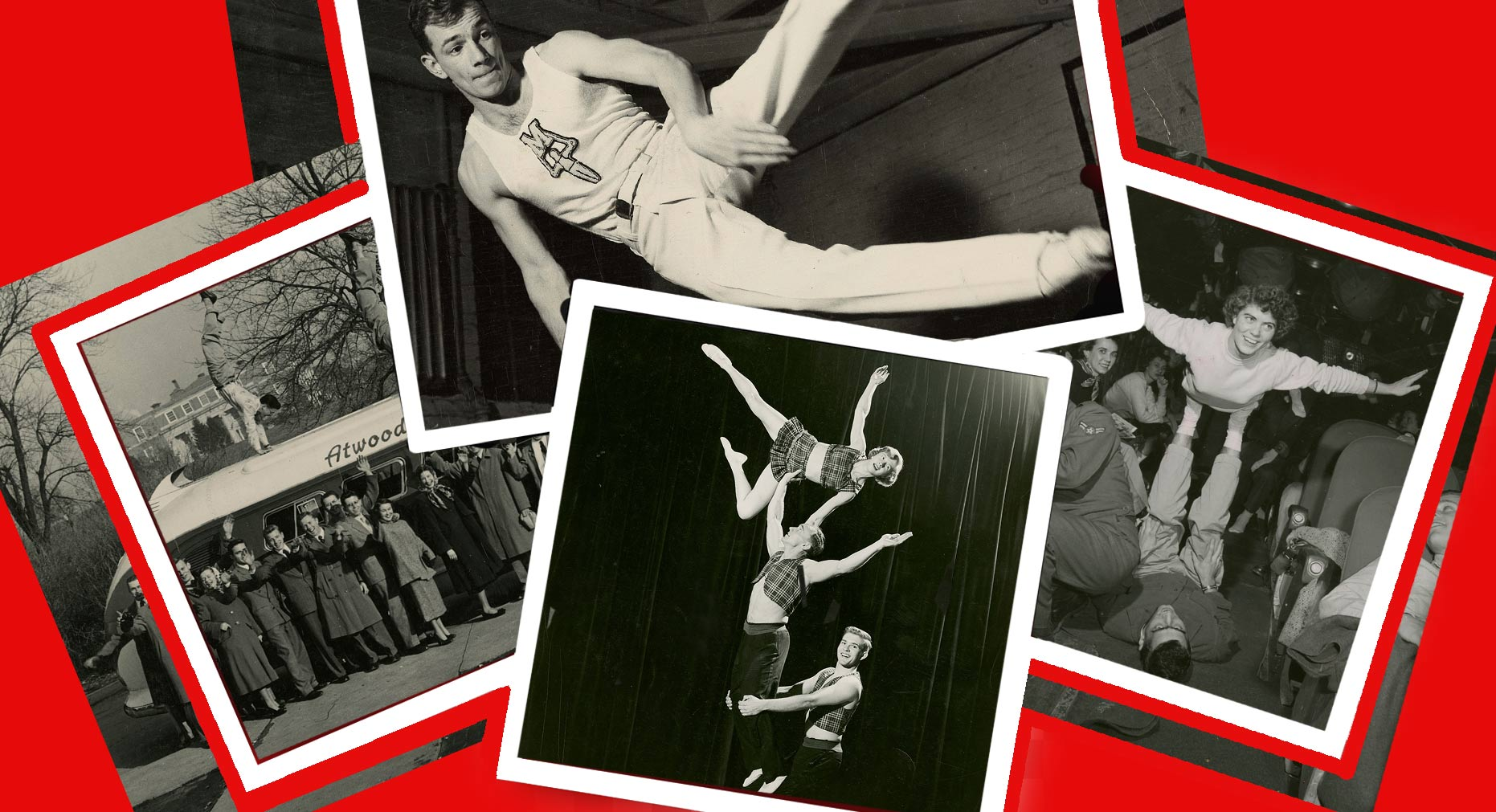 Gymkana, UMD's gymnastics and acrobatics troupe that encourages healthy lifestyles as School of Public Health ambassadors, is celebrating its 75th anniversary this season. (Photos courtesy of University Archives)