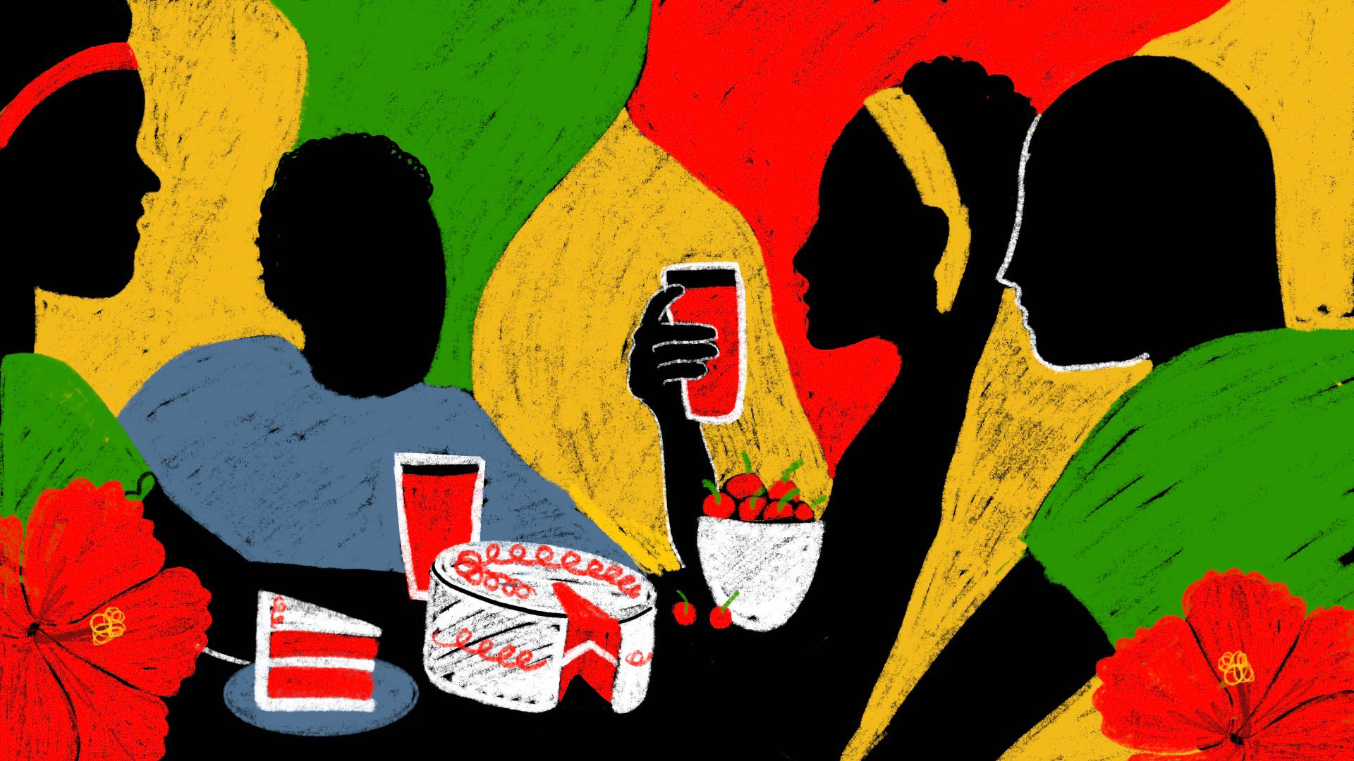 Juneteenth celebrations, which commemorate the day the country's last enslaved people were freed in 1865, often feature red foods and beverages, like red velvet cake, cherries and red soda. (Illustration by Valerie Morgan)