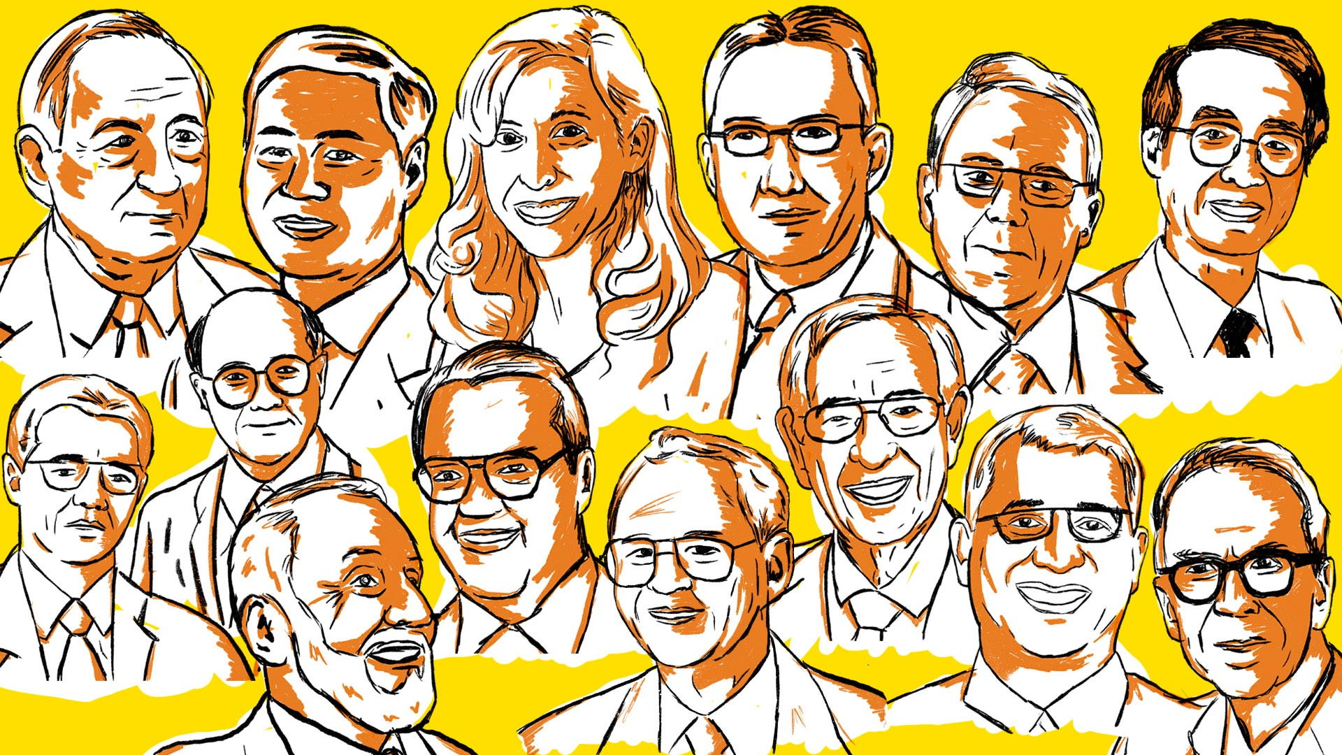 Stylized illustration of headshots for individuals in the Innovation Hall of Fame. Yellow background, with black outlines, and amber shading.