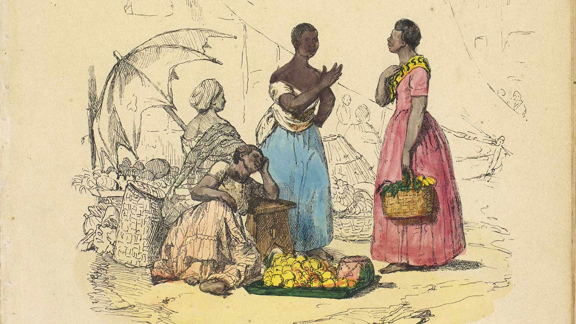 "The new digital database Enslaved.org: Peoples of the Historic Slave Trade seeks to recover fuller stories of individuals such as these women pictured on the 19th century lithograph ""A Market Scene"" by Frederico Guilherme Briggs. (Image courtesy of BNDigital, Fundação Biblioteca Nacional, Rio de Janeiro)"