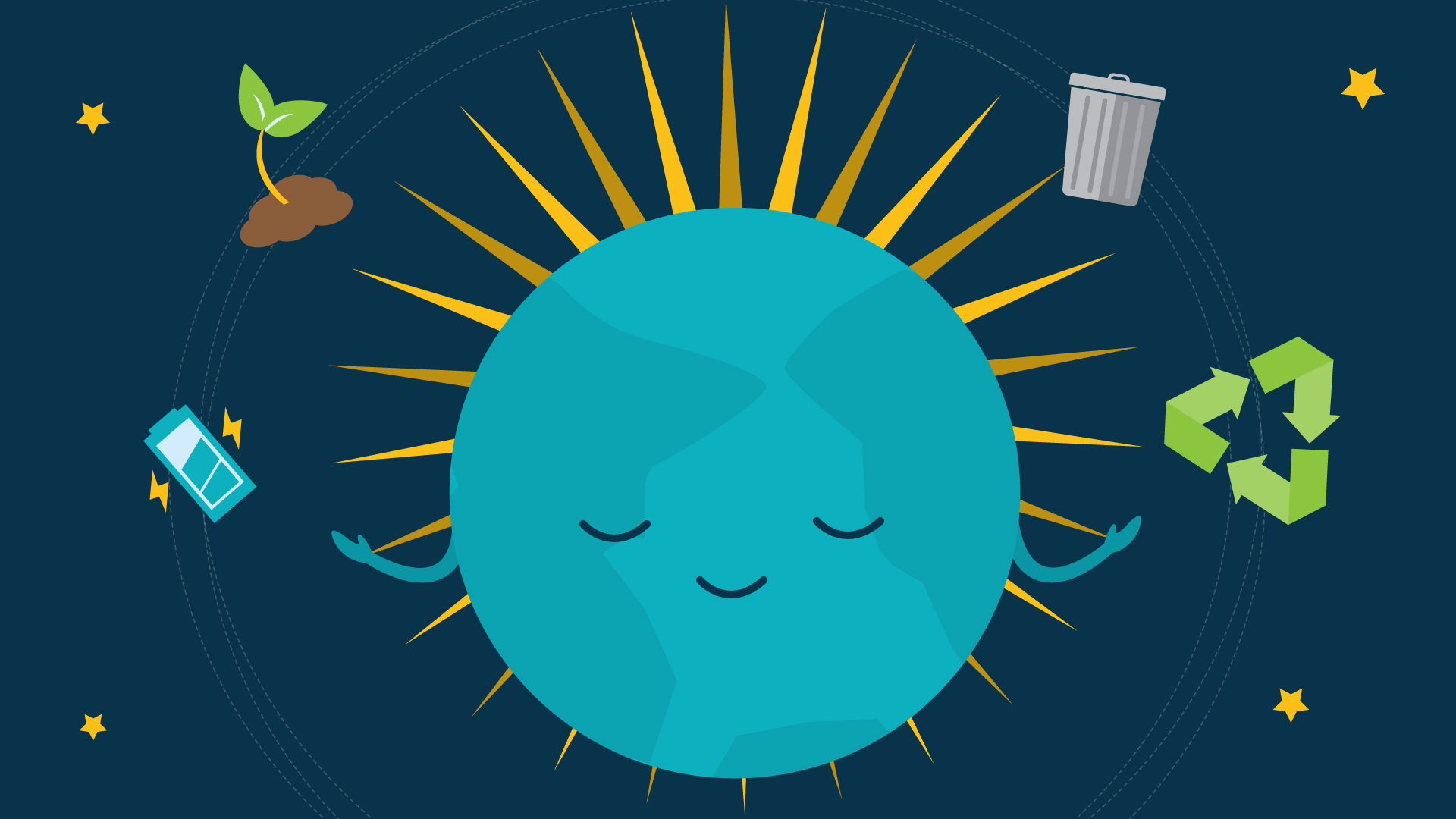 Illustration of planet earth with a content smiley face, and icons of sustainable recycling in orbit
