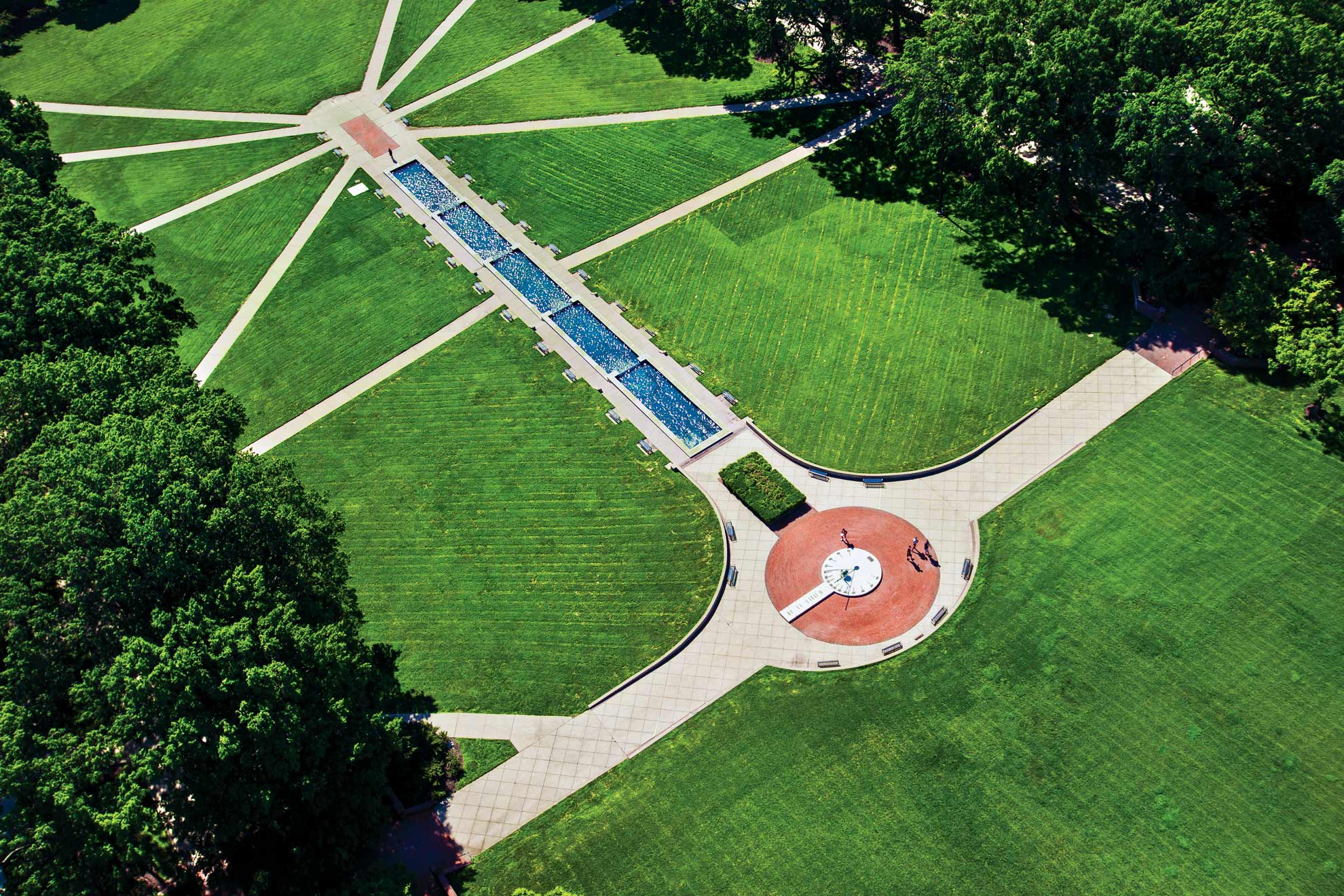 Aerials view of McKledin Mall's fountain and sun dial at the University of Maryland